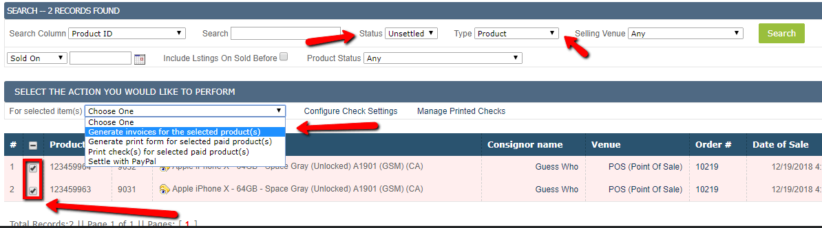 settle and generate consignment invoices